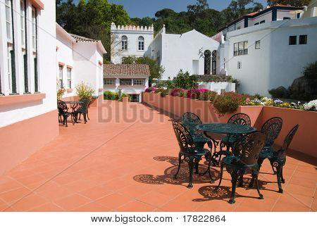 Sunny terrace set up for al fresco eating