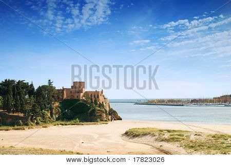 The Portuguese town of Ferragudo showing fortifications and harbour