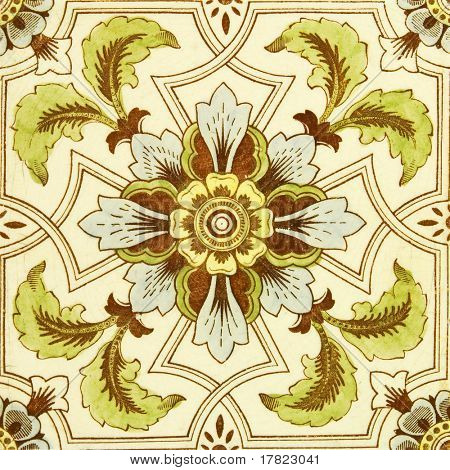 An antique hand tinted  tile in the Aesthetic taste c1890