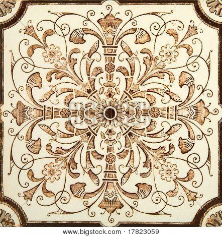 antikes ästhetisches braun & Creme symmetrische Design Fliesen c1880