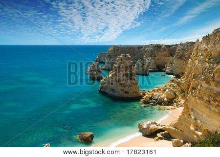 Quiet cove at Praia da Marinha, Algarve, Portugal