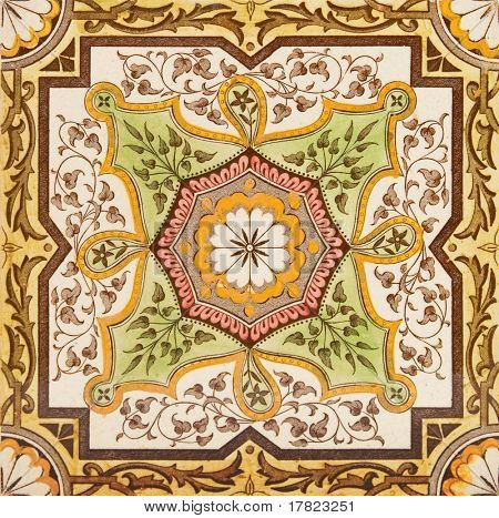 Decorative wall tile from the late Victorian period c1880 - Aesthetic style