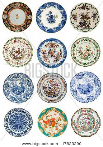 Doce placas antiguas de varios diseñan, todo el siglo XIX - serie de antigüedades genuinas