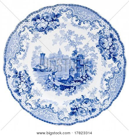 A Staffordshire blue & white pearlware plate, early Victorian, transfer print design of an Italian Scene - genuine antique series