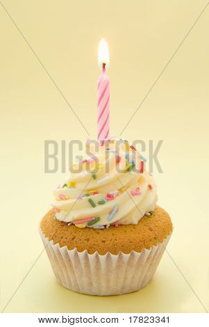 Cupcake with icing and single candle with yellow theme