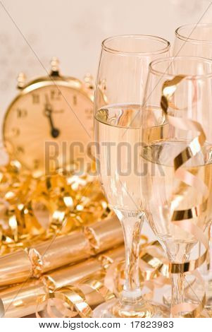 Champagne celebration for New Year or significant event, gold tones