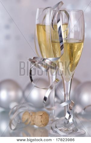 Champagne with silver baubles