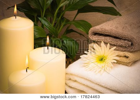 Peaceful bathroom still life setting with candles