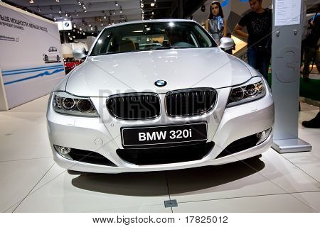 Moscow, Russia - August 25:  Grey Car Bmw 320 At Moscow International Exhibition Interauto