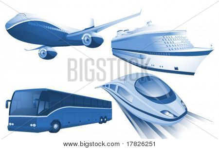 Travel transportation blue vector icons.