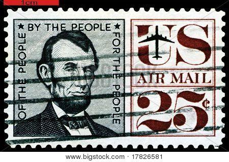 Vintage Postage Stamp.  President Usa  Abraham Lincoln.