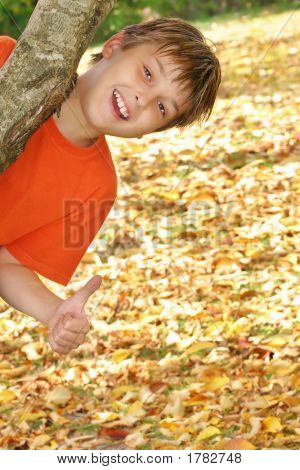 Happy Child Plays In Fall Autumn Leaves