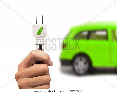 Electric car and green car concept with white background