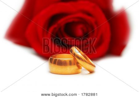 Two Wedding Rings And Red Rose Isolated On White