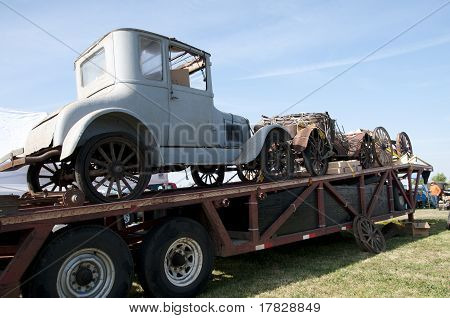 Old Cars on Trailer