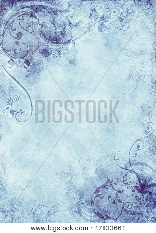 A grunge background design with swirls, floral patterns, brush strokes and paint splatters
