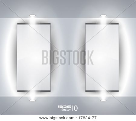 Showroom Panel for product with LED spotlights and place for text or image