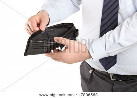 Man showing his empty wallet isolated on white background