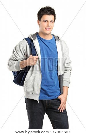 A portrait of a male student with a school bag isolated against white background