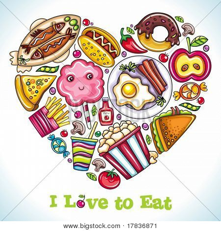 I love to Eat. Vector illustration of cute heart made of different types of  delicious food