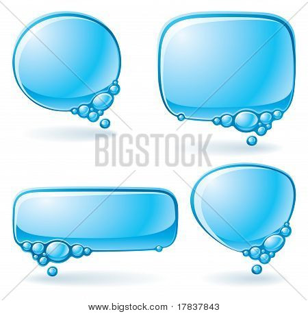 Aqua speech bubble set