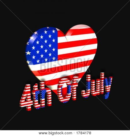 3D Heart Of America Graphic Over Black