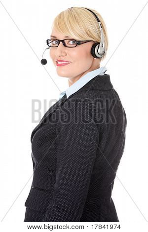 Mature call center. Isolated on white background.