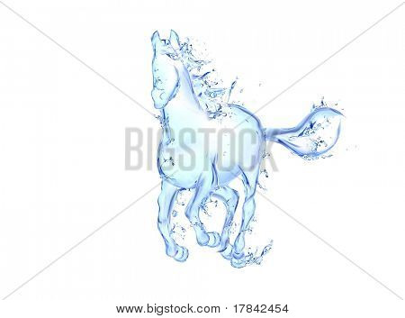 Galloping horse liquid artwork - Animal figure in motion made of water with falling drops
