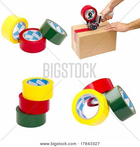 Set Of Four Images Of Packaging Materials
