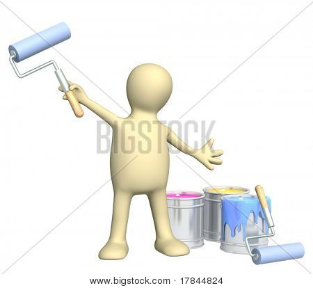 3d puppet with platen. Isolated over white