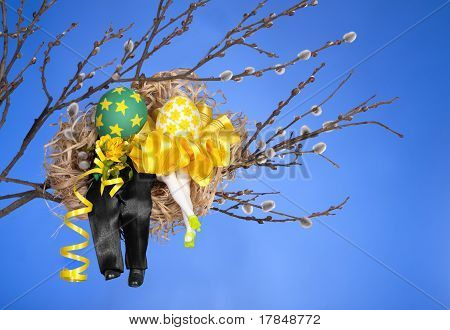 Couple Of Easter Eggs In Birds Nest