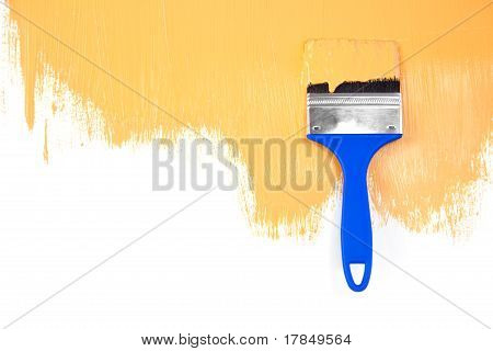 Orange  Painted Shape With Brush / White Background