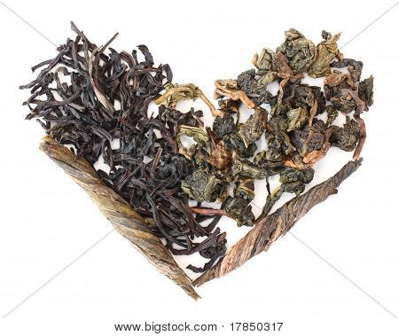 Three Types Of Tea In The Form Of Heart