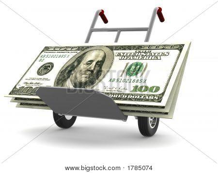 Pista de la mano con dólares