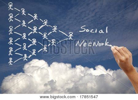 Hand drawing social network concept on the sky background by chalk