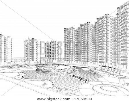 plano de arquitetura de estrutura de arame