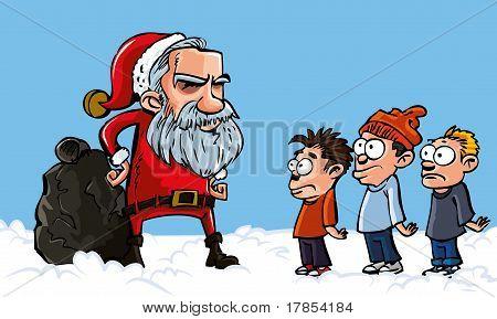 Mean Cartoon Santa With A White Beard