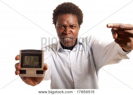 Young Man Angry Clock