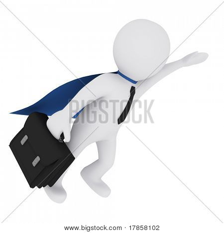 3D man in a superman wear flying 3Dwith a suitcase