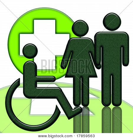 Handicapped person medical icon