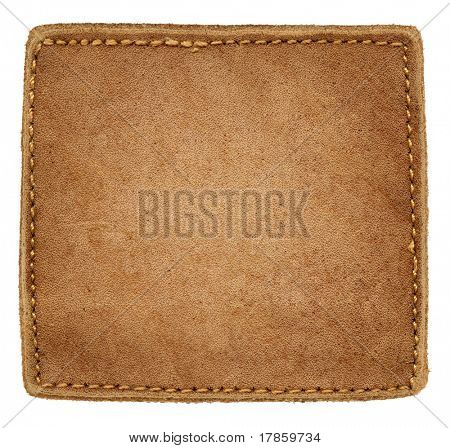 Square shape blank jeans label isolated on white background