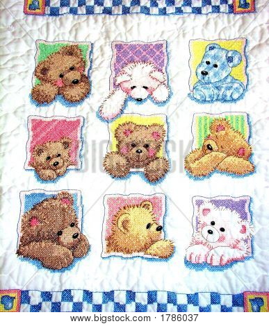 Cross-Stitched Teddy Bear Quilt