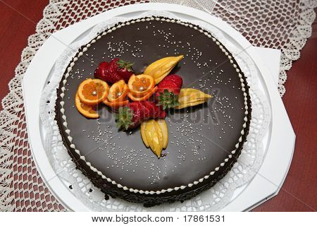Chocolate Cake Decorated With Fruit