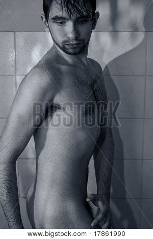 Handsome Young Wet Naked Man Taking A Shower