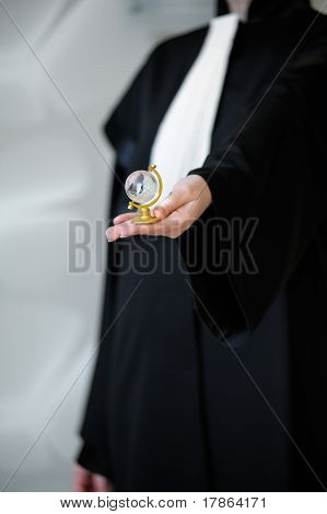Barrister In robe Holding Globe In Hand