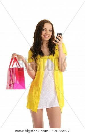 young woman with a phone and bag
