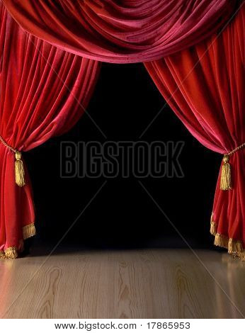 Cortinas do teatro de veludo vermelho