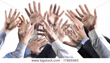 Lots of businessmen hands in attitude of reaching something- white background.