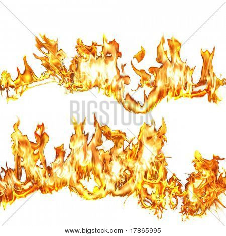 Real flames over white background