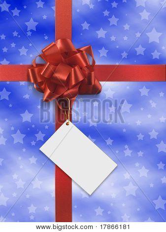 blaue und rote Geschenk mit roter Schleife über Papier mit Sternen bewertet Motiv